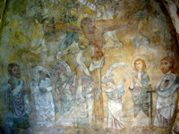Fresco of the crucification of Christ by the Virtues